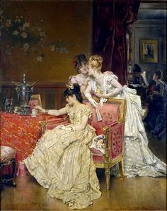 The Cup of Tea ~ Alfred Émile Léopold Stevens ~ (Belgian: 1823-1906)