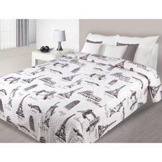 Prehoz na posteľ bielej farby so vzormi svetových veľkomiest Comforters, Blanket, Bed, Furniture, Home Decor, Creature Comforts, Homemade Home Decor, Blankets, Stream Bed