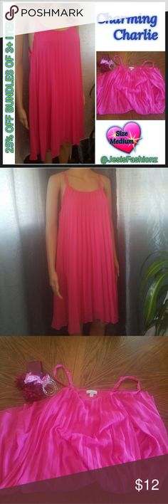 Pink Pleated Style Dress ~CHARMING CHARLIE~ Size Medium Pink Pleated Top Dress w/Pink Lining.  Item#EUC78 *ALL CLOTHING IS NWT/NWOT/GENTLY USED* EACH ITEM HAS BEEN CHECKED FOR DAMAGE. IF ANY ITEM IS DAMAGED, IT WILL BE SHOWN AND NOTED.  25% OFF BUNDLES OF 3 OR MORE ITEMS! *ALL REASONABLE OFFERS ACCEPTED* BUY WITH CONFIDENCE~TOP 10% SELLER, FAST SHIPPING, 5 STAR RATING, & FREE GIFT(S) w/MOST ORDERS! Charming Charlie Dresses Midi