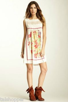 NWT S 4-6 $118 FREE PEOPLE White Crochet FIESTA Shift Mini Dress SO CUTE LAST S