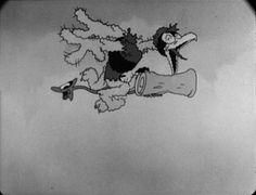 An anthropomorphic arrow gooses a crow. | Robin Hood Jr. (1933); an Ub Iwerks cartoon featuring Willie Whopper