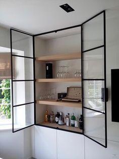 trendy home bar shelves cabinet doors Glass Cabinet Doors, Glass Doors, Cupboard Doors, Glass Cabinets, Dish Cabinet, Metal Kitchen Cabinets, White Cabinet, Built In Bar, Modern Bar