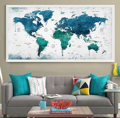 Extra large watercolor push pin map poster print World map