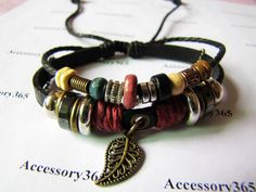 Men or Women Soft Leather Bracelet with Color Bead by braceletcool, $7.50