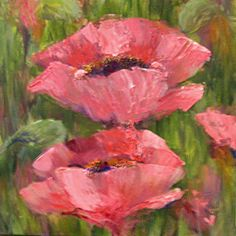 Pink Poppies arcylic Painting Ideas | Pink Poppies' 9x9 acrylic on gallery wrapped canvas