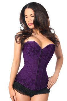 2d7a22be451 Lavish Dark Purple Lace Overbust Corset w Zipper