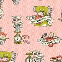 Robert Kaufman Fabrics: AUM-15415-10 PINK by Mary Urban from In The Kitchen