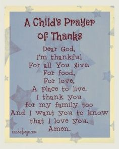 childs prayer of thanks