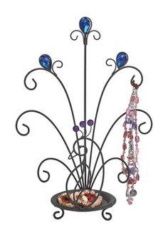 Black Jeweled Peacock Jewelry Tray