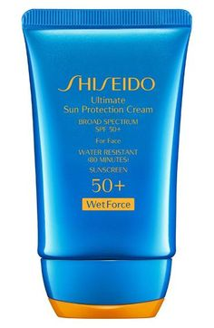 Shiseido Wetforce Ultimate Sun Protection Cream Broad Spectrum SPF 50+ for Face Water is the enemy for most sunscreens, but this innovative formula actually activates when wet. Ideal for active days in a beach, pool, or lake, this water-resistant sunscreen also includes beneficial skin ingredients.    Shiseido Wetforce Ultimate Sun Protection Cream Broad Spectrum SPF 50+ for Face ($36)