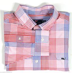 vineyard vines New Men's XL Murray Shirt Seaway Check Strawberry Blonde $98.50 #VINEYARDVINES #ButtonFront #thewhaleshirt