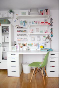 INSIDE the BEST IKEA Craft Rooms with a FREE Ikea shopping list! SMART ideas for organizing craft supplies in craft rooms, sewing rooms, scrapbook rooms .