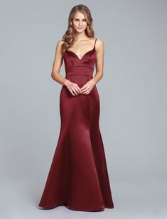 Style 5852 Hayley Paige Occasions bridesmaids dress - Burgundy satin trumpet bridesmaids gown, curved V-neckline, natural waist. Mermaid Bridesmaid Dresses, Mermaid Dresses, Bridesmaids, Mermaid Skirt, Burgundy Gown, Country Wedding Dresses, Poses, Occasion Dresses, Blazer Outfits