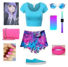 Blue pink and purple  By: Kelsey C. by kelseyclark70 on Polyvore featuring polyvore, fashion, style, WithChic, Vans, Casetify, Ray-Ban, Jeffree Star and clothing