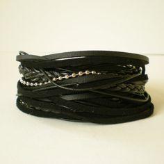 mens black leather wrap bracelet rocker style wrap by jcudesigns, £18.00