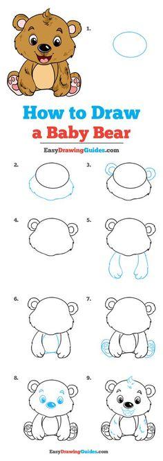 Drawing Tutorials For Kids, Drawing For Kids, Drawing Ideas, Cartoon Drawings, Animal Drawings, Kawaii Drawings, Bear Drawing, Drawing Drawing, Drawing Stuff