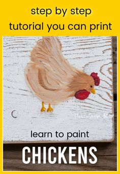 This step by step painting class is a printable workbook. You can easily paint these fun little chickens using the easy instructions, photo steps and video link. Download and print to keep. Diy Home Decor Projects, Garden Projects, Art Projects, Chicken Signs, Chicken Art, Flower Art Drawing, Chicken Painting, Step By Step Painting, Video Link