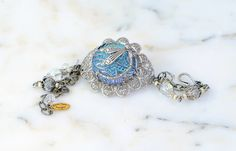 Bohemian Silver Bracelet Dragonfly Bracelet by KarenTylerDesigns