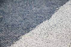 Jeansblauwe french terry met witte achterkant per 25cm