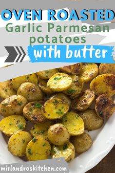 Roasted potatoes done right! These Garlic Parmesan Potatoes have that perfect mix of garlic, butter, cheese and seasonings. They are a quick side dish to toss together for a weeknight dinner or a holiday meal. Adding the butter at the end gives them SO much extra flavor. #potatoes #sidedish #easy #dinner Garlic Parmesan Potatoes, Oven Roasted Potatoes, Side Dishes For Bbq, Vegetable Side Dishes, Side Dish Recipes, Vegetable Recipes, Potato Sides, Potato Side Dishes, Side Dishes