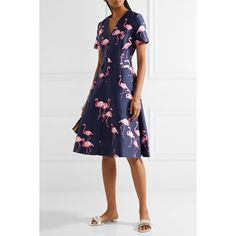Draper James Cutout printed silk and cotton-blend dress ($555) ❤ liked on Polyvore featuring dresses, navy blue fit and flare dress, silk print dress, button dress, fit flare dress and cut out back dress