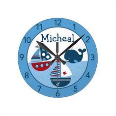 Nautical Sailboat Personalized Nursery Wall Clock