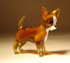 "Blown Glass ""Murano"" Art Animal Figurine Dog Chihuahua 