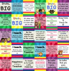 Teacher appreciation gifts. Easy and inexpensive! Set of 30 inspirational teacher quotes for 8x10 frames.