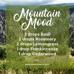 , 5 Must Try Fall Essential Oil Diffuser Blends - Painted Teacup , Mountain Mood Diffuser Blend Fall Essential Oils, Ginger Essential Oil, Cedarwood Essential Oil, Lemongrass Essential Oil, Essential Oil Diffuser Blends, Essential Oil Uses, Doterra Diffuser, Essential Oil Perfume, Doterra Oils