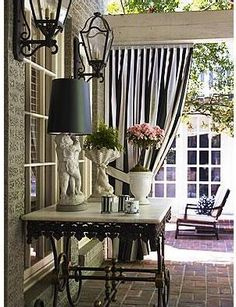Black & White stripes for patio. Love it on awnings too! (All the housing plans we've seen for Guam seem to have some pretty good size backyard lawns and patios . Outdoor Curtains, Outdoor Rooms, Outdoor Living, Outdoor Decor, Outdoor Areas, Outdoor Patios, Outdoor Kitchens, Gazebos, Outside Living