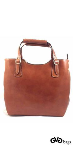 Betty - Womens Brown Genuine Cowhide Leather #Handbag | Two hand held straps, zipper closure and removable leather shoulder #strap. Inside zipper pocket and two slip pockets. Measurements (cm) - L 30 x H 28 x W 10 Color: Brown Genuine Italian #Leather Made in Italy. gvgbags.com