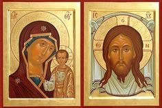 Russian icons - Virgin Mary and Jesus Christ