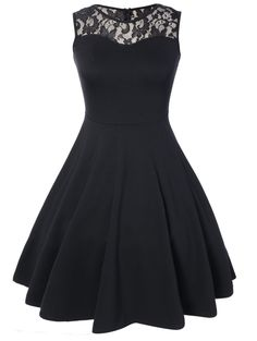 Sleeveless Lace A Line Party Skater Dress, BLACK, S in Little Black Dresses | DressLily.com
