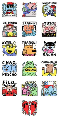 """Facebook asked me to create a set of 16 emoticon stickers for their Messenger App, inspired by Chilean culture and its slang.The set is called """"Take it easy"""" and can be downloaded for free on the Facebook's Sticker Store"""