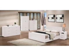 LAZY 5 PIECES BEDROOM SUITE - WHITE HTDLFBS367