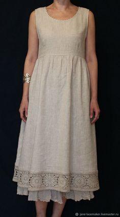 Платье-сарафан с вязаной каймой - купить или. Simple Dresses, Pretty Dresses, Casual Dresses, Linen Dresses, Cotton Dresses, Boho Fashion, Fashion Dresses, Womens Fashion, Fashion Clothes