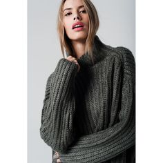 DIMENSION/SIZE:  Oversize    MATERIAL USED:  70% Acrilyc 30% Wool    DESCRIPTION:  Oversized wool mix gray knit in chunky style. With half turtleneck and long sleeves. | Shop this product here: spree.to/bgqs | Shop all of our products at http://spreesy.com/JewelsByScarlett    | Pinterest selling powered by Spreesy.com
