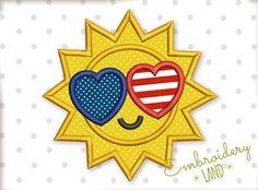 Sun I Love USA Applique DE044