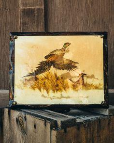 Vintage Pheasant Hunting Painting on Wood