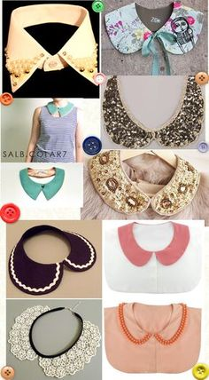 Fonte: Blog Singer Lace Collar, Collar And Cuff, Collar Necklace, Diy Clothing, Clothing Patterns, Sewing Patterns, Fashion Details, Diy Fashion, Golas Peter Pan