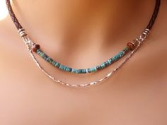 Turquoise Silver and Leather Necklace, Southwest, Hill Tribe Silver | stonemountainjewelry - Jewelry on ArtFire
