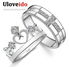 Wedding Rings for Men and Women 925 Sterling Silver Cross Crown Cubic Zirconia Ring Crystal Jewelry Couple Rings Uloveido J412
