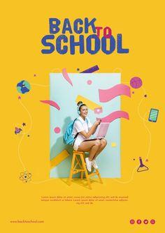 Happy teenager girl sitting on a chair F...   Free Psd #Freepik #freepsd #background #poster #school #design Typography Poster Design, Design Poster, Logo Design, Food Web Design, Creative Design, Ads Creative, Sports Graphic Design, Graphic Design Templates, Social Media Poster