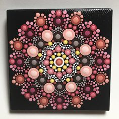 """Hand painted with acrylic in Yellow, Pink, Brown, and Orange. Sprayed with a high gloss sealer to protect the colors. Canvas size is 4"""" X 4""""."""