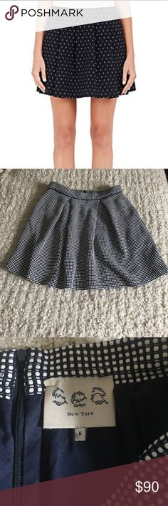 """Sea New York Polka Dot Knit A Line Mini Skirt Cotton blend, box pleated, zipper closure, a line/ flared fit, knitted, 28"""" waist, 17"""" length, lined, in good condition, minor snag( see photo) Sea New York Skirts Mini"""