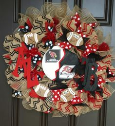 Team Wreath - Bucs/AZ Cardinals - House Divided $65 - All teams available https://www.facebook.com/pages/Custom-Wreaths/788713587866067?sk=photos_stream&tab=photos_albums#!/media/set/?set=a.790096881061071.1073741828.788713587866067&type=3