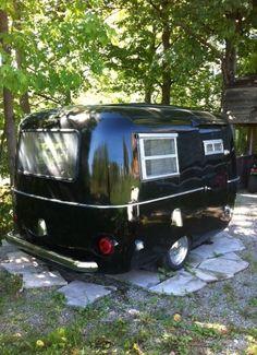 retro caravan GLAMPING~Black and chrome boler - caravan Tiny Trailers, Vintage Campers Trailers, Retro Campers, Vintage Caravans, Camper Trailers, Vintage Motorhome, Classic Campers, Vintage Airstream, Cargo Trailers