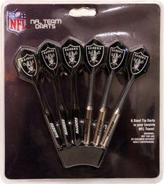 Set of 6 NFL Oakland RAIDERS Steel Tip Darts & Flights with Team Logo - Steel Tip
