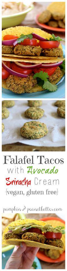 Falafel Tacos with Avocado Sriracha Cream  |  Pumpkin & Peanut Butter  |  V GF