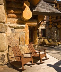 Adirondack-style rockers make the deck a comfy place to relax.